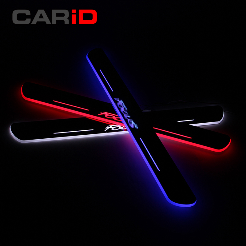 CARiD LED Car Scuff Plate Trim Pedal Door Sill Pathway Moving Welcome Light For Ford Focus 2012 2013 2014 2015 Waterproof stainless steel led scuff plate door outside sills trim car accessories welcome pedal for ford kuga 2013 2014