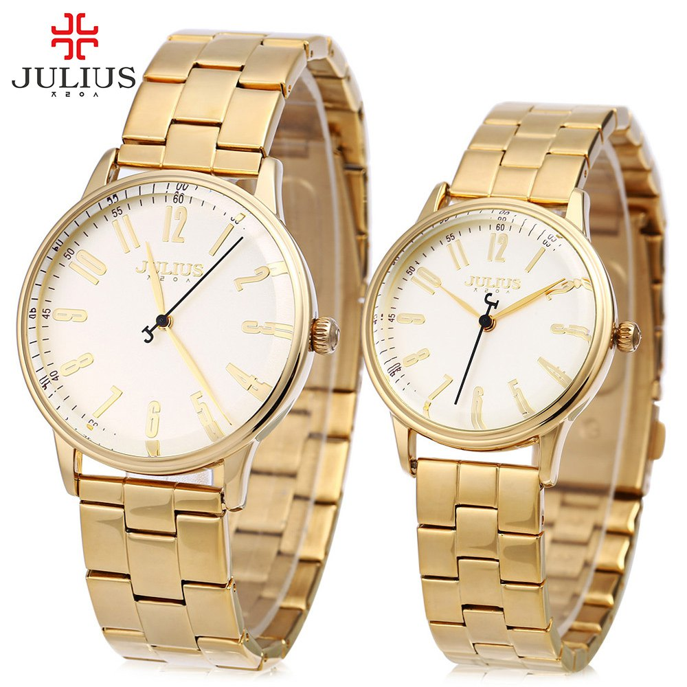 Top Brand JULIUS Couple Watch, Lovers Quartz Watch, Men Women Full Steel Waterproof Wristwatches 2016 reloj hombre