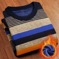 T Bird Mens Sweater Brand Velvet Pullover Men Stripe Knitting Sweater Male Casual Simplicity Winter Keep