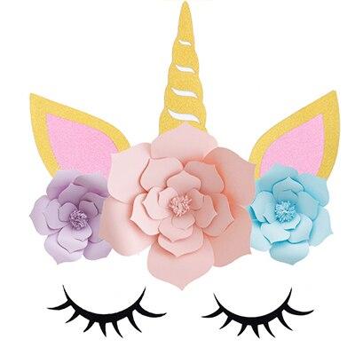 Paper Flower Unicorn Horn Ears