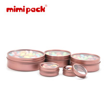 mimipack Shallow Round Clear Window Slip Top Lid Tins in 6 Colors, 4/6/8/12/16 oz Snack Jewelry Storage Boxes, Pack of 24(China)