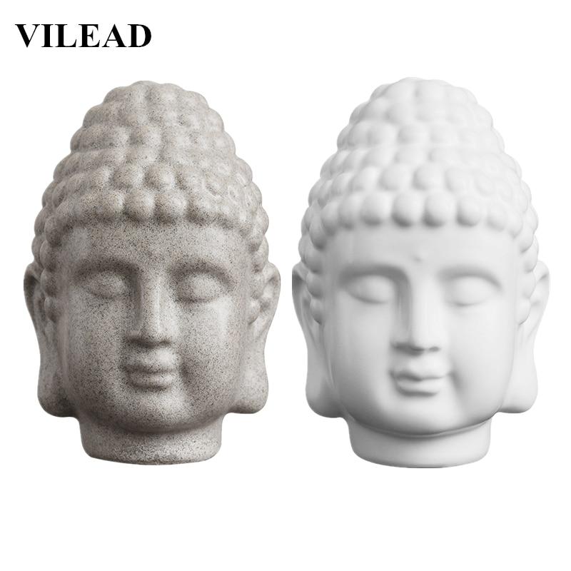 VILEAD 15cm Sandstone White Buddha Head Statue Resin India Religious Buddha Head Sculpture Thailand Buddha Figurines Home Decor
