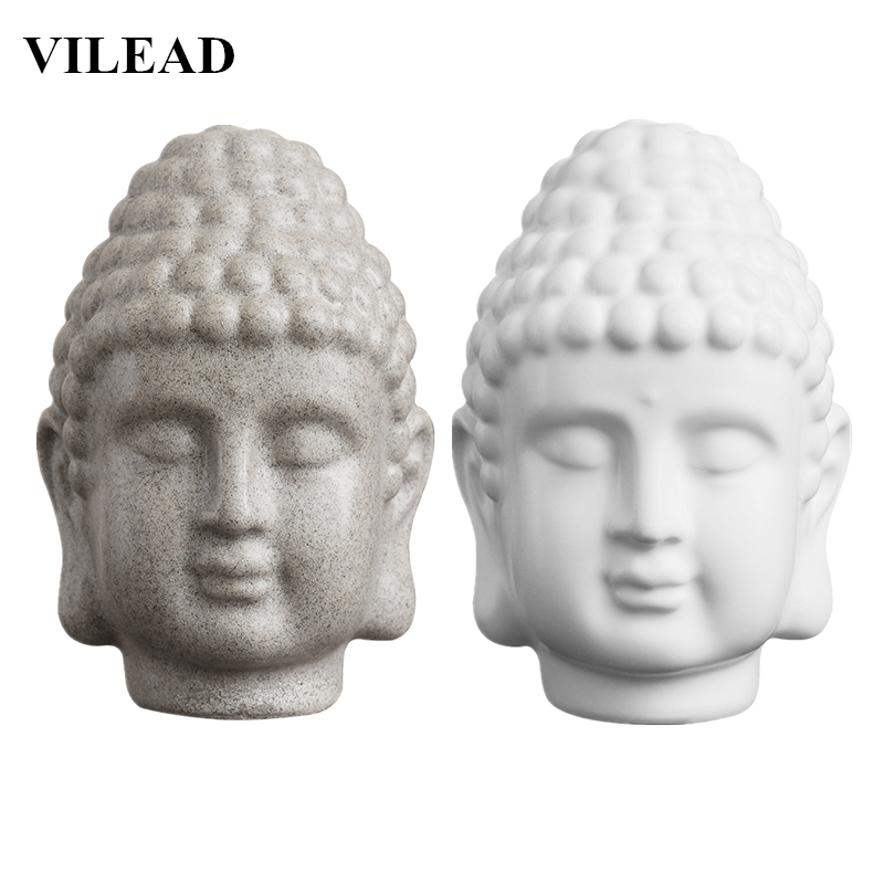 VILEAD 5.9'' Sandstone White Buddha Head Statue Resin India Religious Buddha Head Sculpture Thailand Buddha Figurines Home Decor