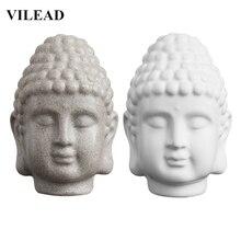 VILEAD 5.9 Sandstone White Buddha Head Statue Resin India Religious Sculpture Thailand Figurines Home Decor
