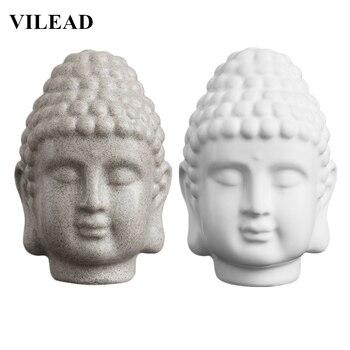 VILEAD-Statue tête de bouddha en grès blanc | Sculpture de tête de bouddha religieux indien en résine, Figurines de bouddha en thaïlande décoration de maison 15cm