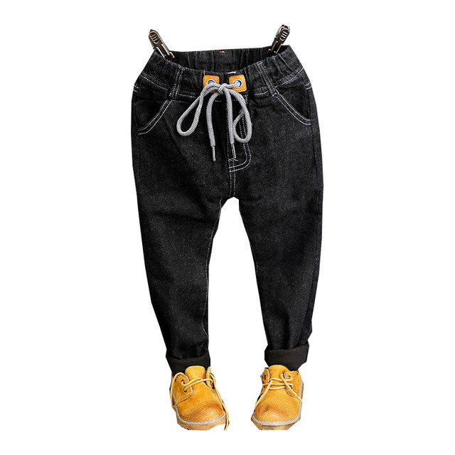 2016 New Winter Kids Jeans Gilrs Casual Cotton Drawstring Black Long Pants Thick Korean Baby Girl Jeans Children Fashion Clothes