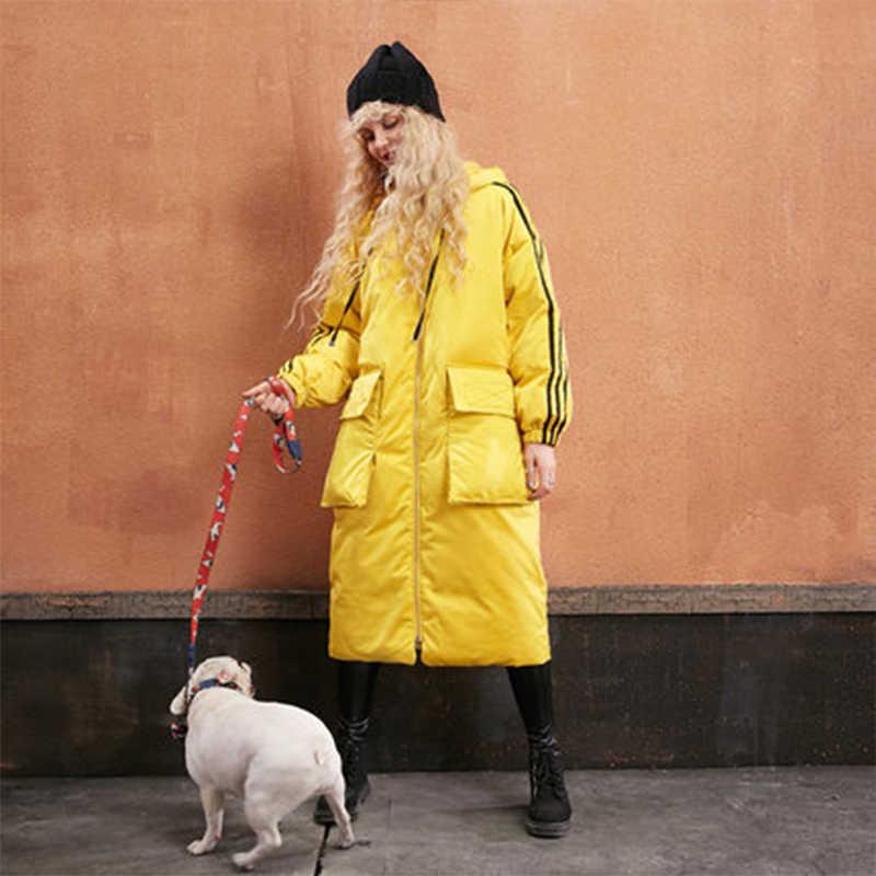 Осенне-зимняя женская длинная теплая куртка на утином пуху желтого и белого цвета со шляпой, большие размеры, стильные парки в стиле кокон, спортивная верхняя одежда