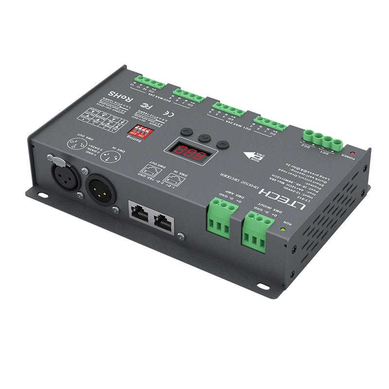 Новый LTECH светодиодный dmx-декодер DC12V-24 В вход; 4A * 12CH Макс. 48A 1152 Вт Выход 12 каналов RGB светодиодный полосы DMX CV декодер; XLR-3/RJ45