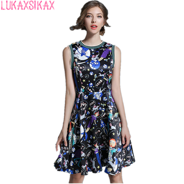 2017 Summer Newest Fashion Women Runway Dress Funny Pattern Printed