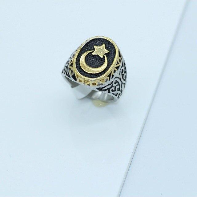 Nova chegada anel venda quente muçulmanos clássico lua e estrela requintado masculino anel tamanho 8,9, 10,11