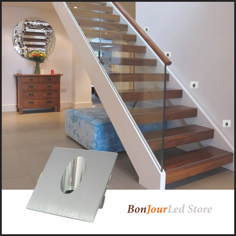 Envío gratis 1 w/3 w luz LED de empotrar para escaleras interior esquina pared luces escaleras escalera pasillo escalera lámpara AC85-265V 50 Uds módulo Led Pixel Cadena de luz impermeable 9mm DC5V IP68 Led puntos las letras de Canal Digital LED Luz de píxel RGB blanco JQ