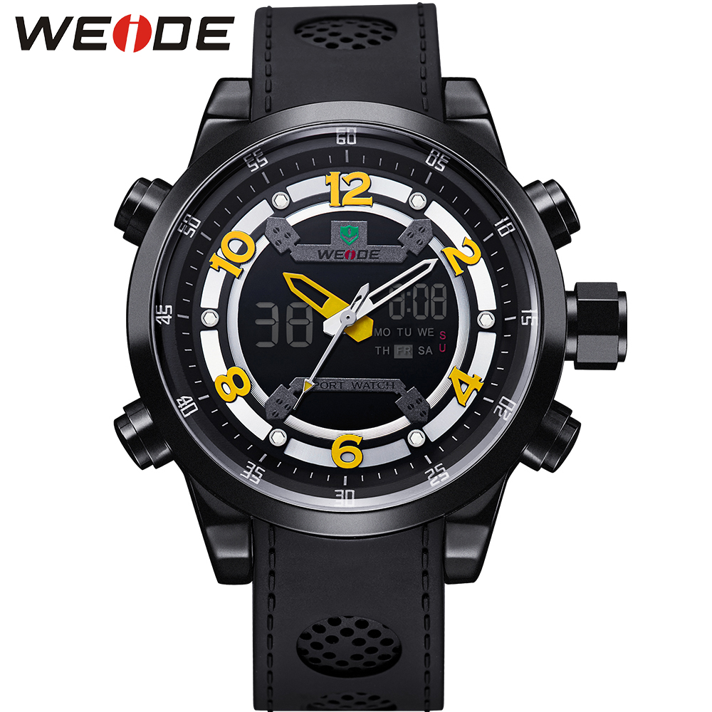 ФОТО WEIDE Luxury Brand Men Watches Quartz Date Clock Fashion Casual Leather Strap Army Military Wrist Watch Male Relogio / WH3315