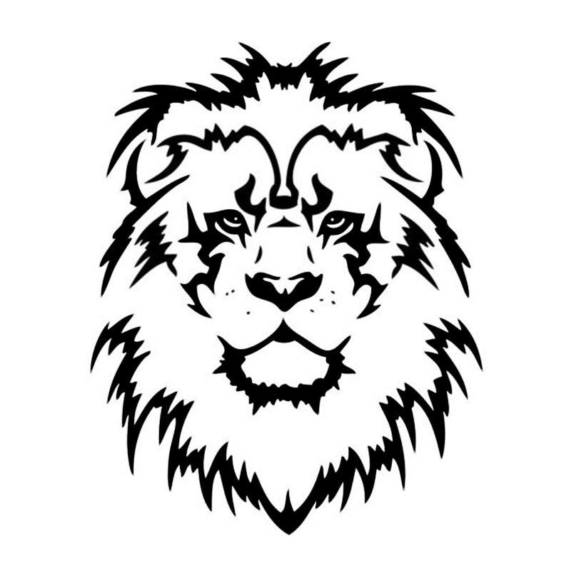 Модная Автомобильная наклейка с головой льва, 11*13,8 см, украшение для автомобиля «Король животных», черная/Серебряная Фотография