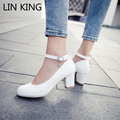 LIN KING Women Pumps Solid Buckle Round Toe Lolita Shoes Thick Square Heel Shoes Wedding Ankle Strap Platform Shoes Plus Size