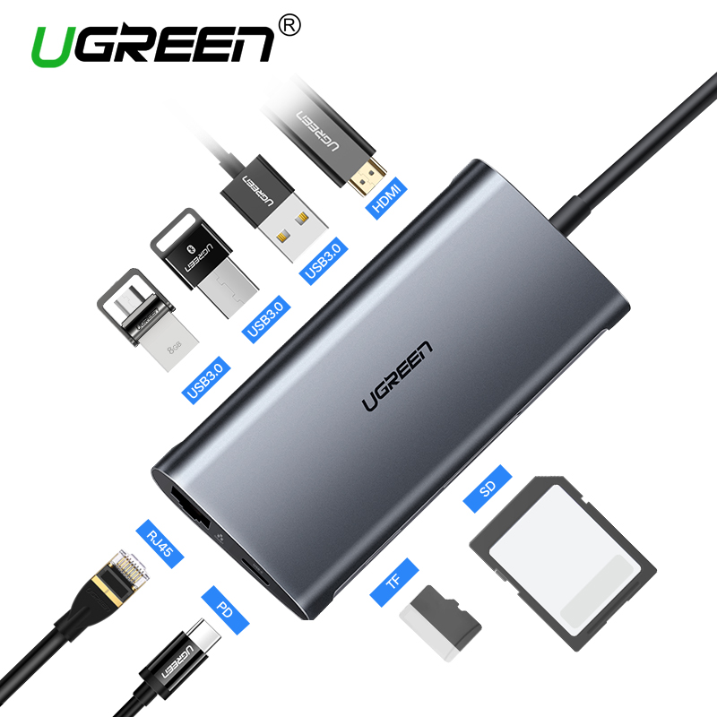 Ugreen USB HUB USB C a HDMI RJ45 Thunderbolt 3 adaptador para MacBook Samsung Galaxy S10 Huawei Mate 20 P20 pro tipo C USB 3,0 HUB