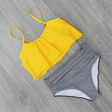 2018 Bikinis Women Swimwear High Waist Swimsuit Halter Sexy Bikini Set Retro Bathing Suits Plus Size Swimwear XXL