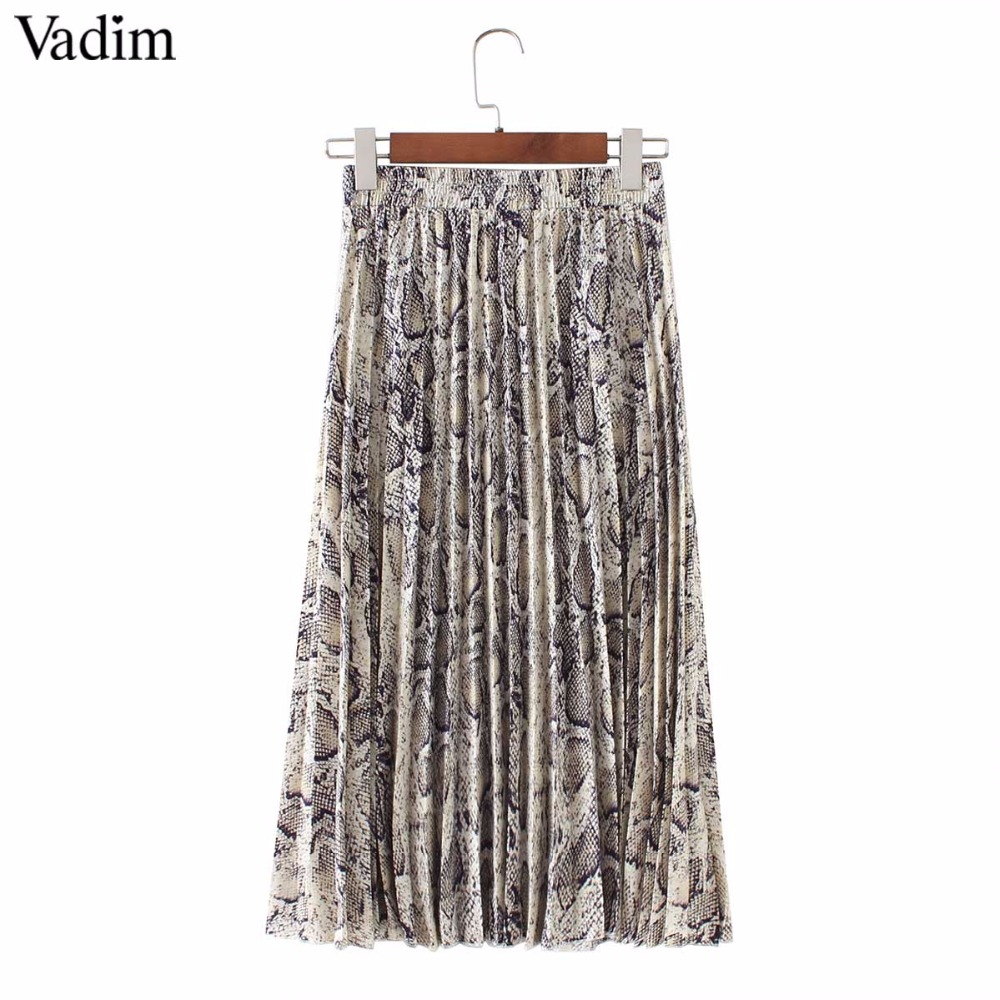 Vadim Women Stylish Snake Print Pleated Skirt Faldas Mujer Drawstring Tie Elastic Waist Ladies Casual Mid Calf Skirts Ba108 #2