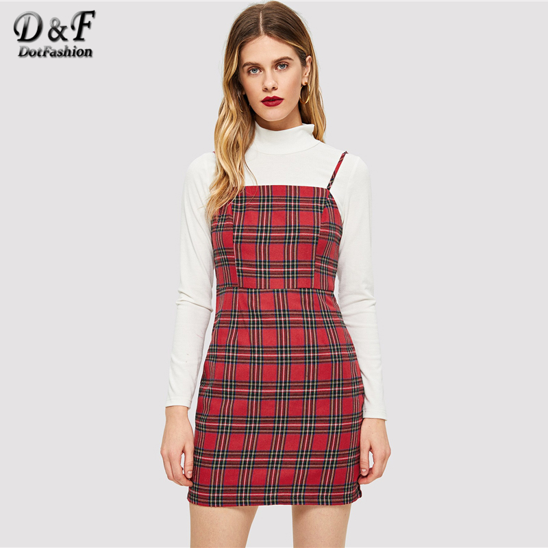 191ba067db98 Dotfashion Red Plaid Print Summer Dress Women Clothes 2019 High Quality  Casual Clothing Sleeveless Slip Straight