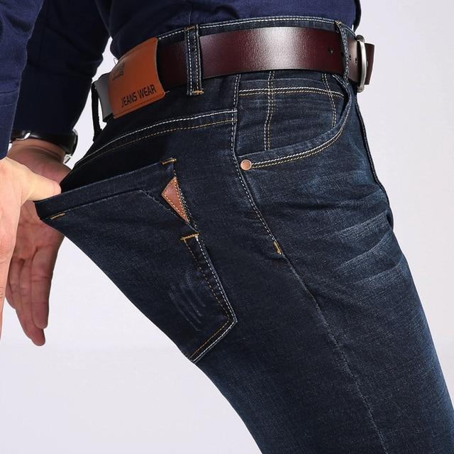 a2a21dbf4 Jantour marca 2019 nueva moda de los hombres Jeans Casual negocios vaqueros  corte Slim elástico pantalones clásicos mezclilla hombre 35 40 gran ...