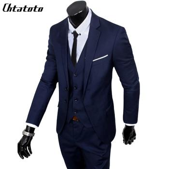 (S-6XL) Large Size Men's Suit New 2018 / Men's Fashion Slim Suit Business Casual Men's Three-piece Jacket Jacket Pants Vest Suit