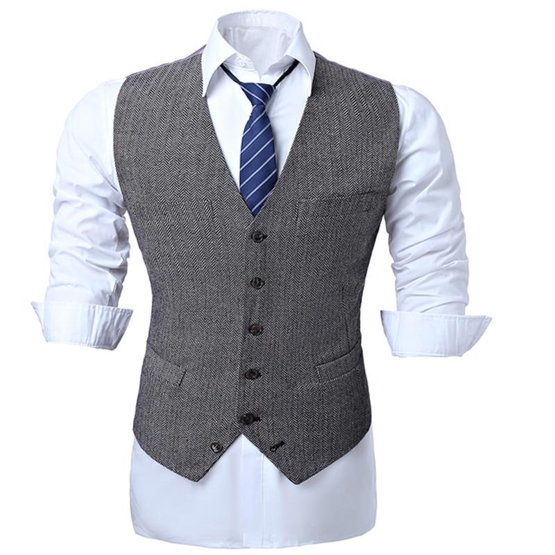Vests Men Wedding Waistcoat Business-Dress Slim-Fit Herringbone Wool-Blend Casual Top-Quality