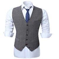 Men Wedding Waistcoat Wool Blend Herringbone Gary England Style Slim Fit Top Quality Vests Men Casual Business Dress Vests