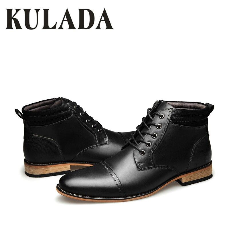 3824851b3e47a4 ... Style Black Automne Casual Chaud Véritable Kulada Offre À Spéciale En  Chaussures Zip Mode Vintage Hiver