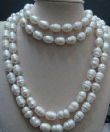 Charming 11-13mm AAA south sea white natural baroque pearl necklace 65 inch choker fast huge 12 13mm natural tahitian south sea white green pearl necklace 18 aaa