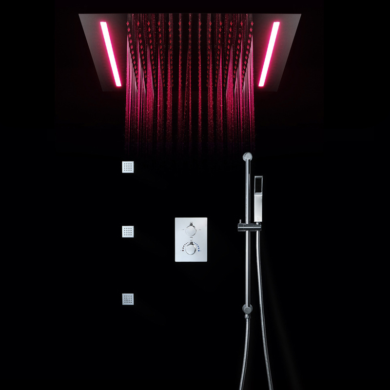 Big Shower Head Rainfall Mirror Shower Panel Ceiling Bathroom Accessories Shower Set Water Saving Led Light Showerhead 500*360mm We Have Won Praise From Customers