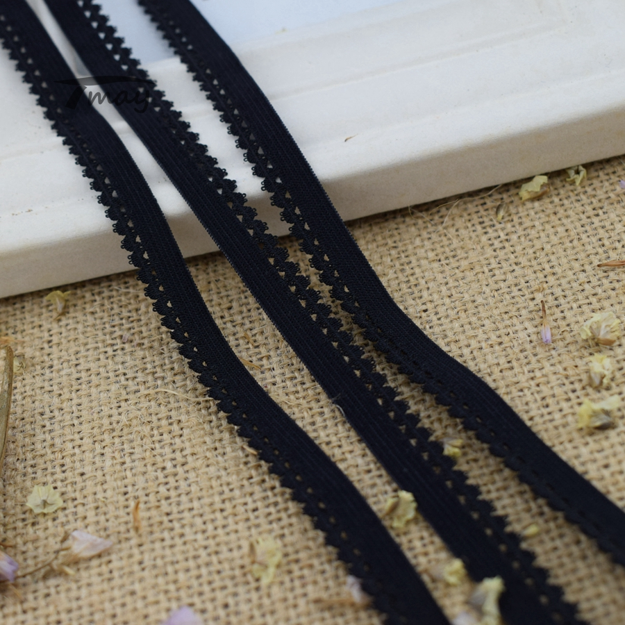 #275 Pure Black Color Elastic Bands For Underwear Pant Bra Lace Fabric Stretch Edge Rubber Bands Nylon Webbing Strap Ribbon DIY