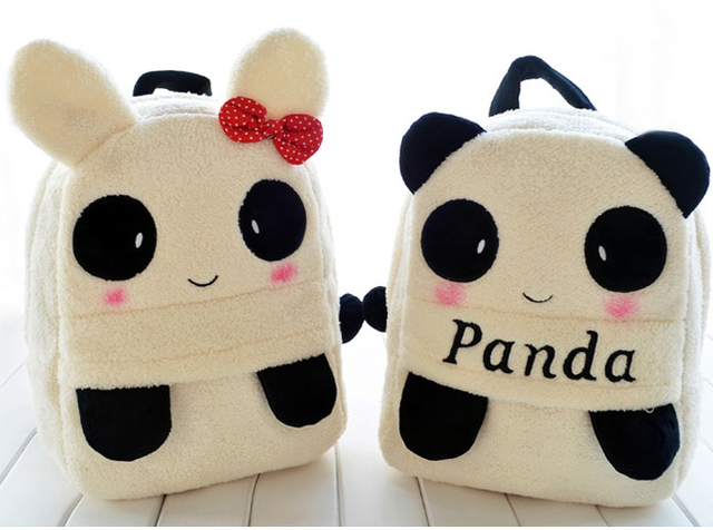 9187924c3bc8 Super funny 1pc 35cm cartoon cute shy panda rabbit plush backpacks school  bag kids girl children