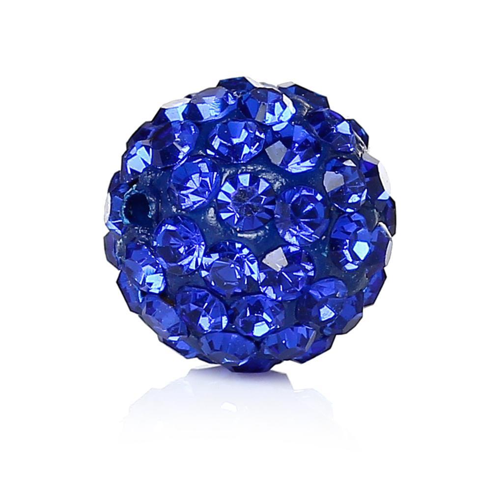 Hole: Approx 1.0mm Dia Doreenbeads Polymer Clay+rhinestone Beads Round Blue Blue Rhinestone About 10.0mm 3/8 1 Piece Harmonious Colors