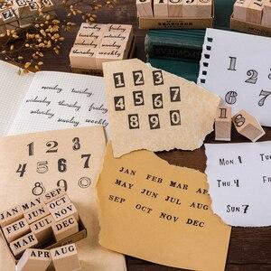 Image 5 - 1 סט בציר creative מספר שבוע חודש חותמת DIY עץ גומי בולים רעיונות מכתבים רעיונות בול רגיל
