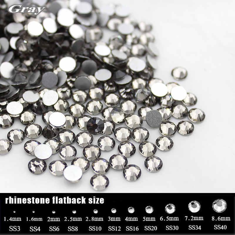 SS3-SS20 Gray Black Diamond Gem for Clothing decoration Flat back Non  Hotfix Rhinestone 7c7d99258ef0