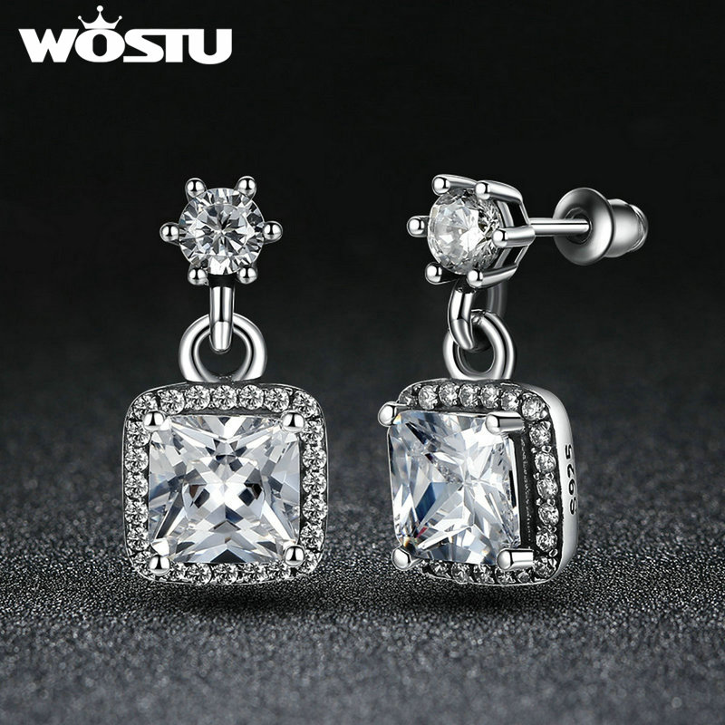c57dd2454 ... Winter New Arrvial Silver Plated Timeless Elegance Drop Earrings With  AAA Clear CZ For Women Fashion Pandora ...