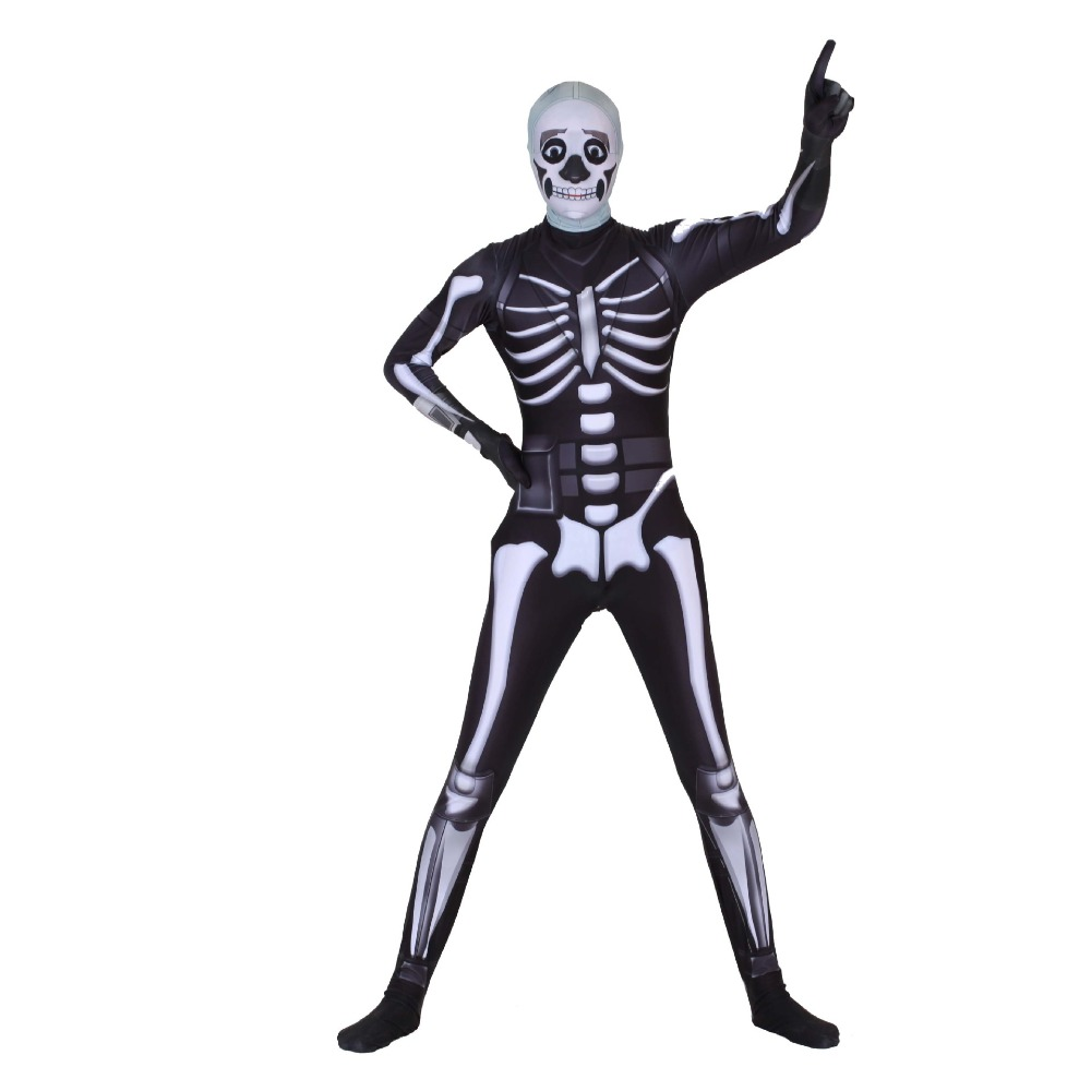 Game fortress night skull trooper Cosplay Costume jumpsuit Zentai skeleton bodysuit Halloween party Customizable clothing