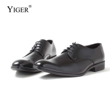 YIGER New Man Dress shoes Business Pig Skin Big size 40-46 Lace-up Mens Wedding Brand high-end male dress 262