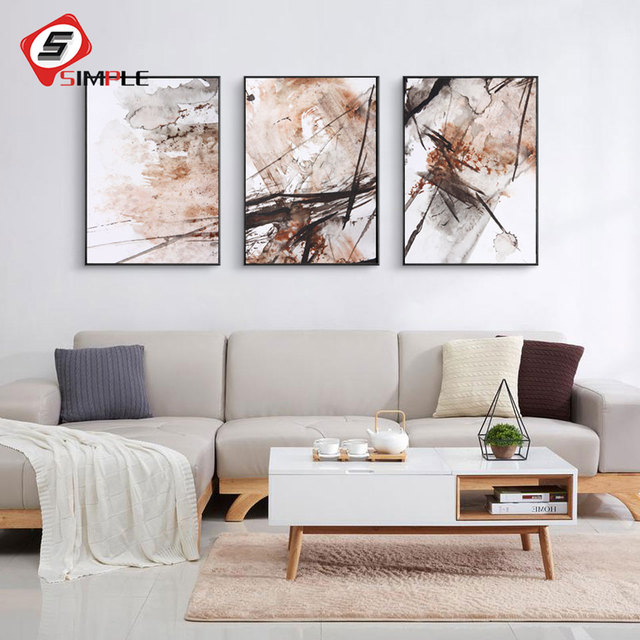 Simple realism abstract poster canvas art prints minimalist painting watercolor wall picture for living room home