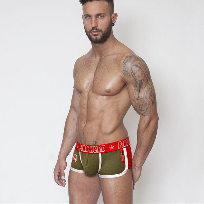 Pink Heroes Brand Men Hot Underwear Boxers mens mesh Boxer Shorts Lateral Spell Breathable Men Panties Cotton Sexy Underpant