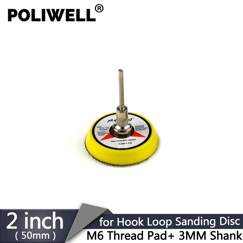 POLIWELL 2 Inch Back-up Sanding Pad For 50 Mm Hook&Loop Sanding Disc Backer Plate + 3 Mm Shank Fit Sander Grinder Electric Tools