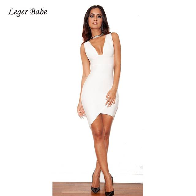 a6707755dfdcc Leger Babe 2019 Summer Celebrity Evening Party Bandage Dresses V Neck Cross  Asymmetrical Dress Sleeveless Sexy Mini Dress White