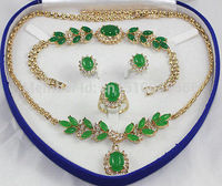Hot sale FREE SHIP>>>>Plated Inlay Green jade Necklace Bracelet Ring Earring set AAA