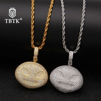 TBTK Ailen Emoji Funny Pendant 2019 New Double Color Pendant Necklace Western Hiphop Style Jewelry Gold Necklace Full of Zircon
