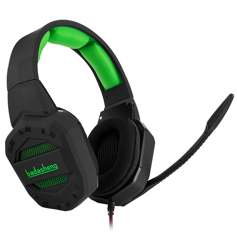 badasheng 7.1 Surround Sound channel USB Gaming Headset Wired Headphone Mic Volume Control Noise Cancelling LED for PC Gamer sades a6 usb 7 1 surround sound stereo gaming headset headband over ear headphone with mic volume control led light for pc gamer