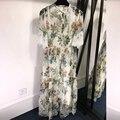 100 Natural Silk Dress Summer Womens Floral Silk Dresses with Butterfly Sleeve Floor-Length Silk Dress Women 2019 Dress Casual
