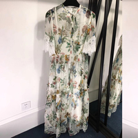 100 Natural Silk Dress Summer Womens Floral Silk Dresses with Butterfly Sleeve Floor Length Silk Dress Women 2019 Dress Casual