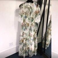 100 Natural Silk Dress Summer Womens Floral Silk Dresses with Butterfly Sleeve Floor Length Silk Dress Women 2019 Dress Casual