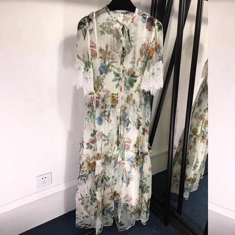 100 robe en soie naturelle d'été femmes robes en soie florale avec manches papillon robe en soie de longueur au sol femmes 2019 robe décontracté