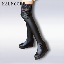 size 34-43 Quality Leather Boots Women Thigh High Sexy Fashion Over the Knee Boots Female Height Increasing Platform Party Shoes