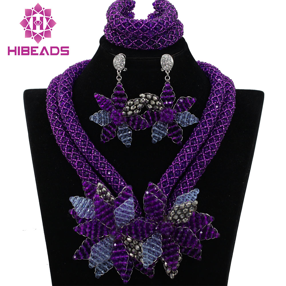 Amazing Purple African Women Wedding Bridal Jewelry Sets Flower Necklace Bridesmaid Handmade African Bead Jewelry Set